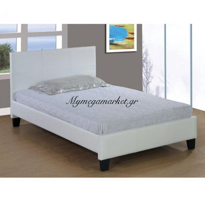 Κρεβάτι Fenia 110X190 Εκ.Δερμάτινη Ματ Λευκό Hm530.02   Mymegamarket.gr