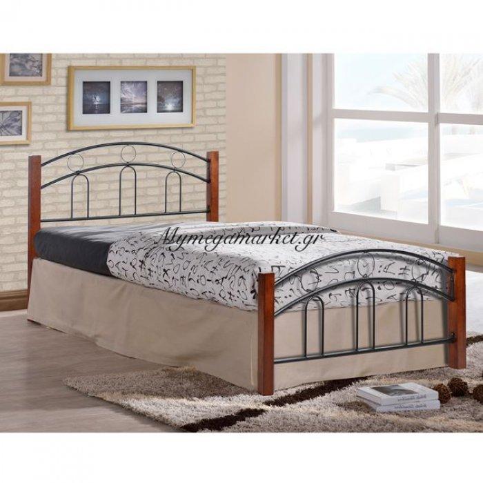 Κρεβάτι Μέταλλο Ξύλο Ημίδιπλο Hm342 110X190 | Mymegamarket.gr