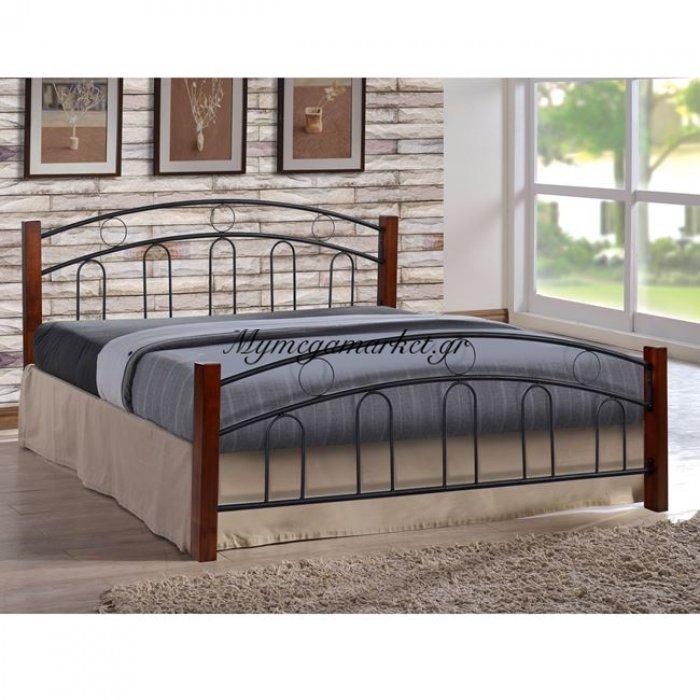 Κρεβάτι Μέταλλο Ξύλο 150X200 Διπλό Hm366 | Mymegamarket.gr