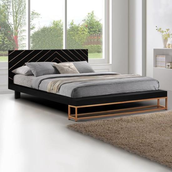 Κρεβάτι Sherri Hm8358 Από Μασίφ Ξύλο Mango Με Μεταλλικά Πόδια - 160x200 εκ