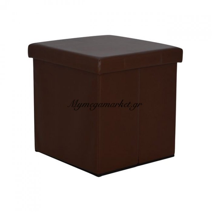 Σκαμπώ Με Αποθηκευτικό Χώρο Alex Pu Σκούρο Καφέ 38Χ38 Hm227.01 | Mymegamarket.gr