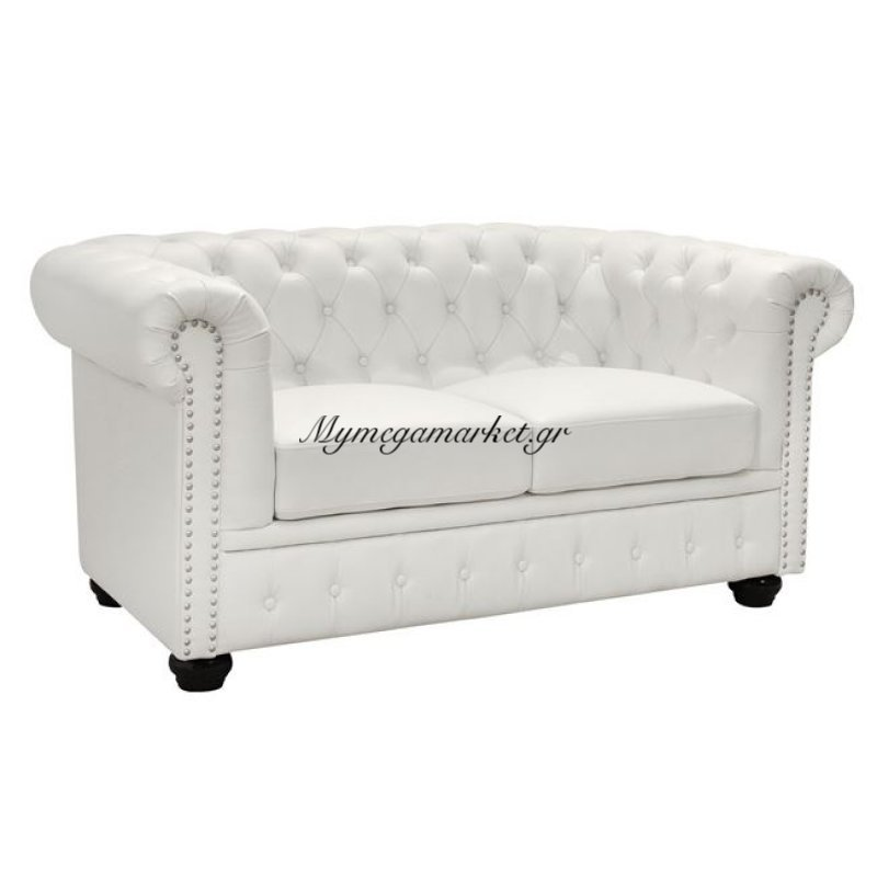 Καναπές 2Θεσιος T.Chesterfield Hm3010.02 Τεχνόδερμα Λευκό Ματ
