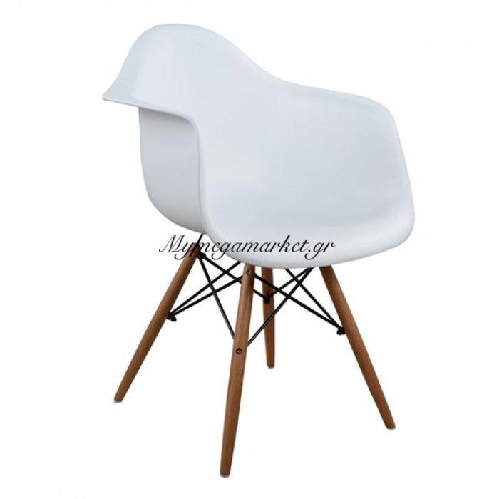 Πολυθρόνα Με Ξύλινα Πόδια & Κάθισμα Λευκό Mirto Hm005.01 | Mymegamarket.gr