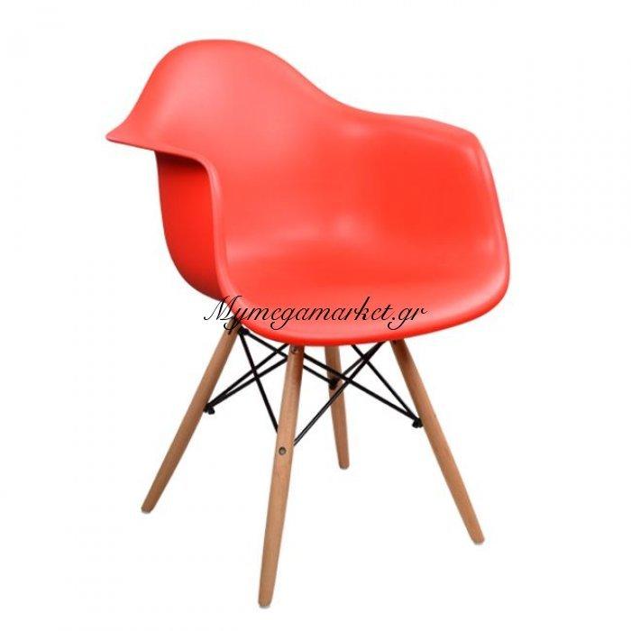 Πολυθρόνα Με Ξύλινα Πόδια & Κάθισμα Κόκκινο Mirto Hm005.04 | Mymegamarket.gr