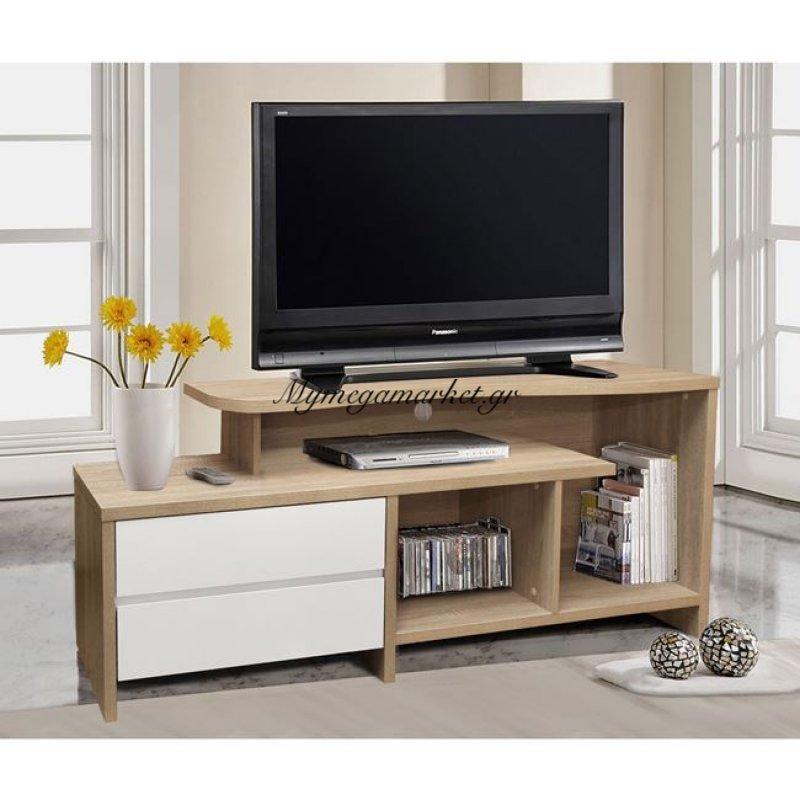 Έπιπλο Τηλεόρασης 2 Συρτάρια Hm2212.01 Sonama - Λευκό 148X40X60Εκ.