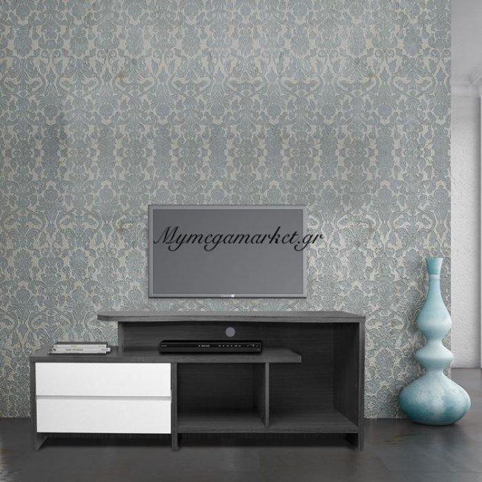 Έπιπλο Τηλεόρασης Hm2212.02 2 Συρτάρια Γκρί - Λευκό 148Χ40Χ60Εκ. | Mymegamarket.gr