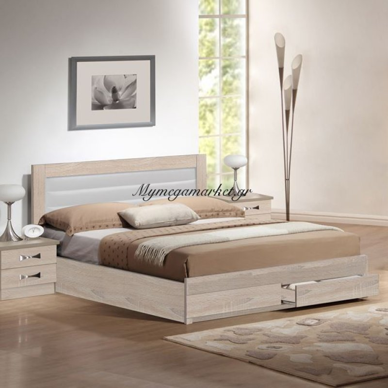 Κρεβάτι Hm322.02 & 2Συρταρια Sonama & Άσπρο Pu 150X200