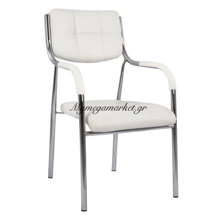 Καρέκλα Επισκέπτου Γραφείου Hm1018.02 Άσπρο Pu   Mymegamarket.gr
