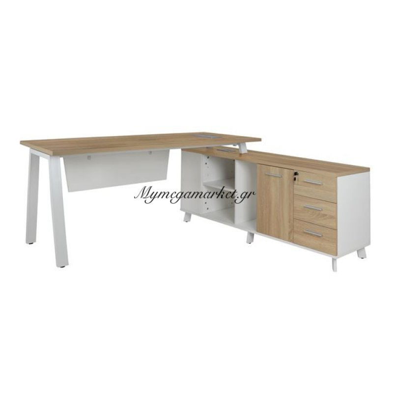 Γραφείο Γωνία Status Hm2033.02 Sonama Λευκό 160 x 80 x 76