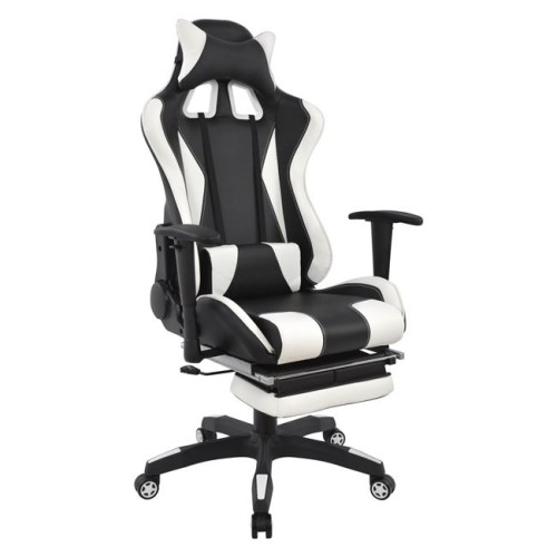 Καρέκλα Γραφείου Gaming Hm1063.04 Speed Μαύρο - Λευκό Με Υποπόδιο
