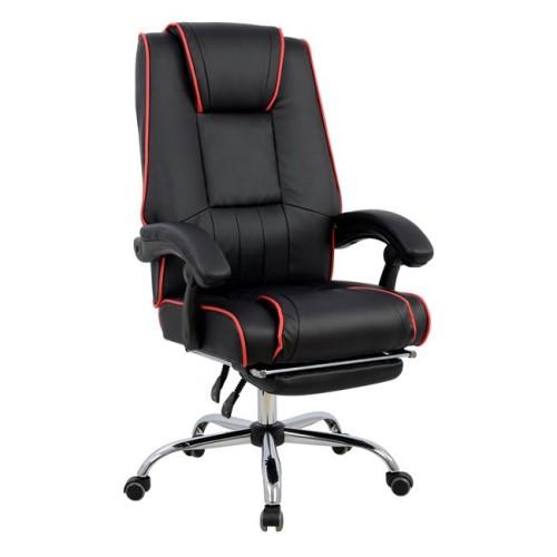 Καρέκλα Γραφείου Gaming Με Υποπόδιο Hm1089.01 Μαύρη Κόκκινη