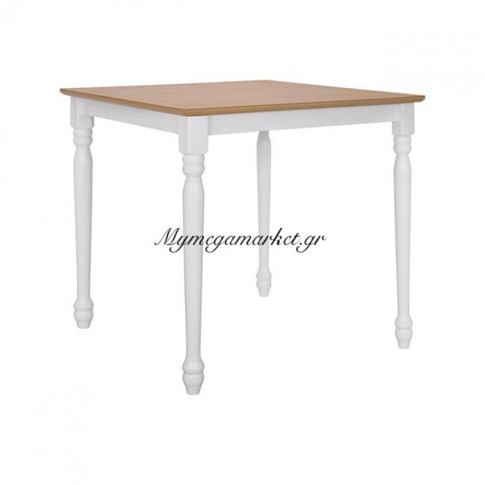Τραπέζι Ξύλινο 75X75X75 Φυσική Επιφάνεια Λευκά Πόδια Hm8277 | Mymegamarket.gr