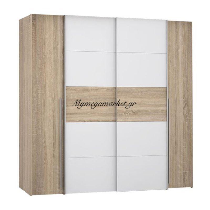 Ντουλάπα 4Φυλλη (2 Συρόμενα-2 Σταθερά) Lois Hm2368.02 Sonama Λευκό 200Χ62Χ191Εκ. Στην κατηγορία Ντουλάπες ξύλινες   Mymegamarket.gr