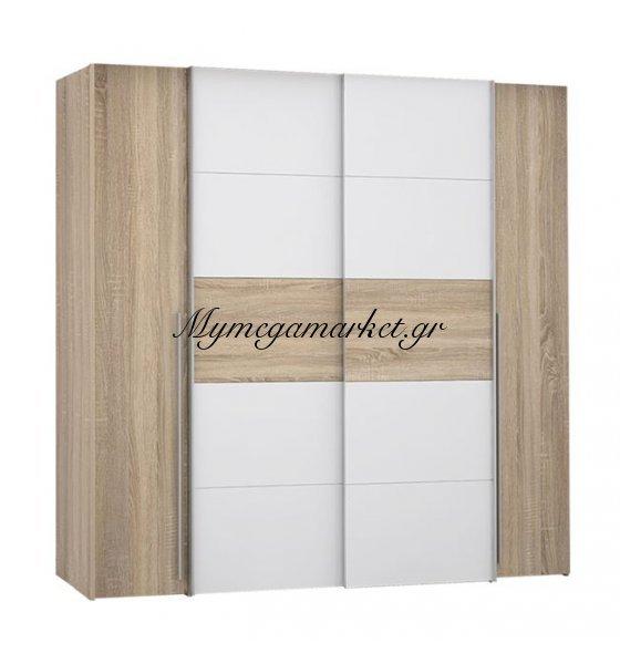 Ντουλάπα 4Φυλλη (2 Συρόμενα-2 Σταθερά) Lois Hm2368.02 Sonama Λευκό 200Χ62Χ191Εκ. | Mymegamarket.gr