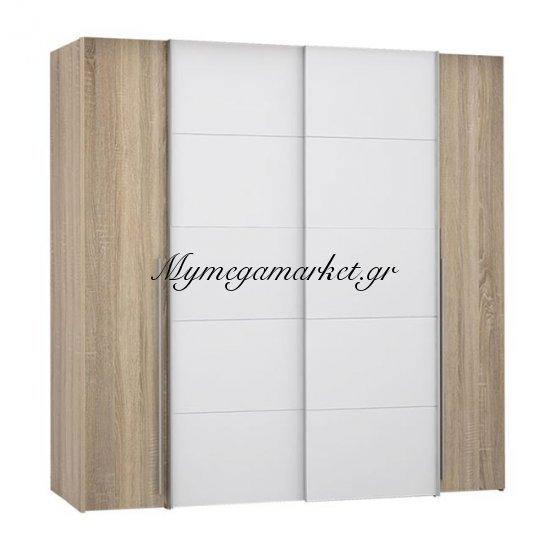 Ντουλάπα 4Φυλλη (2 Συρόμενα-2 Σταθερά) Lois Hm2368.02 Sonama Λευκό 200Χ62Χ191Εκ. Στην κατηγορία Ντουλάπες ξύλινες | Mymegamarket.gr