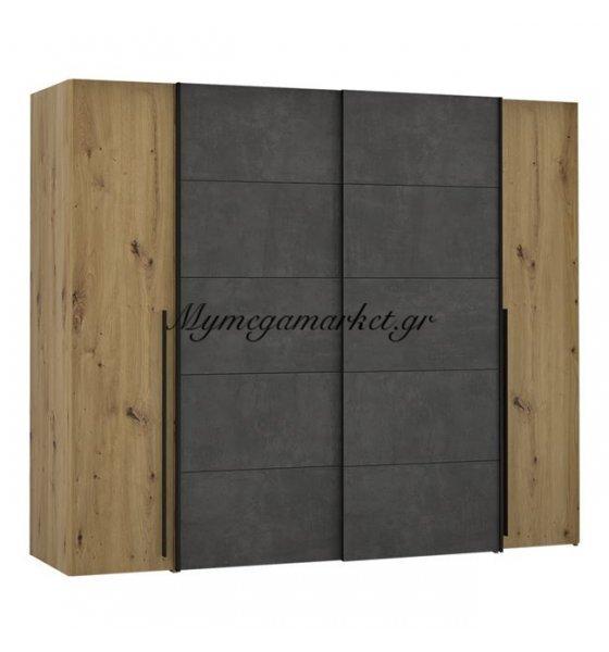 Ντουλάπα 4Φυλλη (2 Συρόμενα-2 Σταθερά) Lois Hm2369.01 Artisan Oak-Γκρι 271Χ62Χ210Εκ. | Mymegamarket.gr