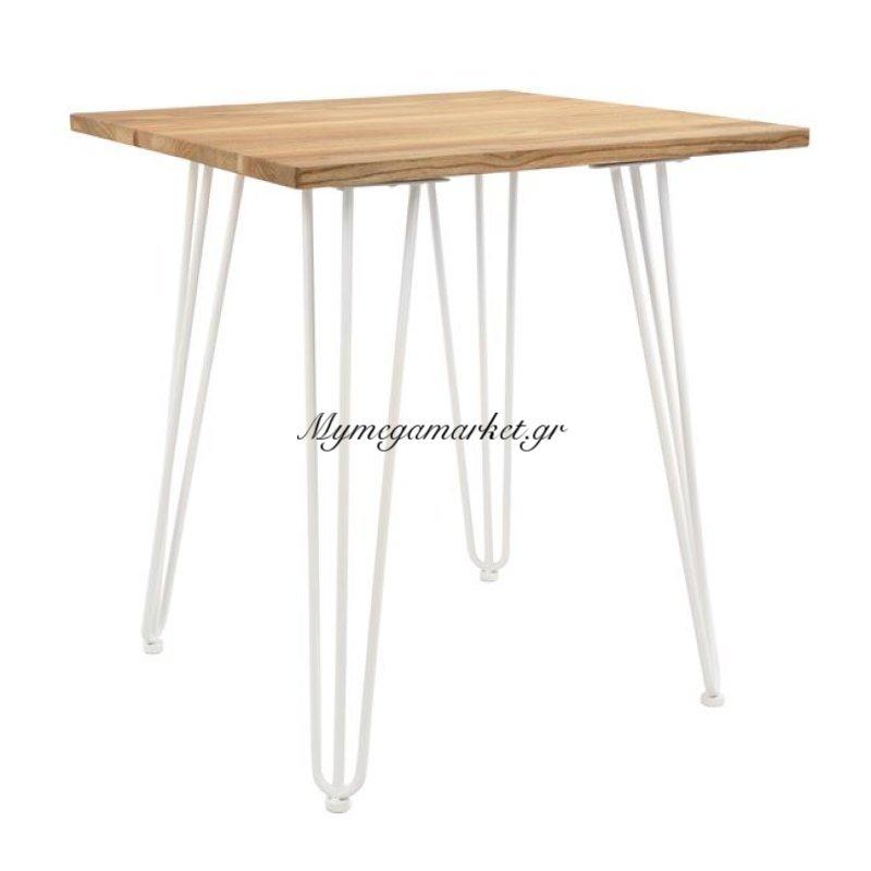 Τραπέζι Μεταλλικό Milk White Και Φυσικό Ξύλο Hm0605.21 70X70X76