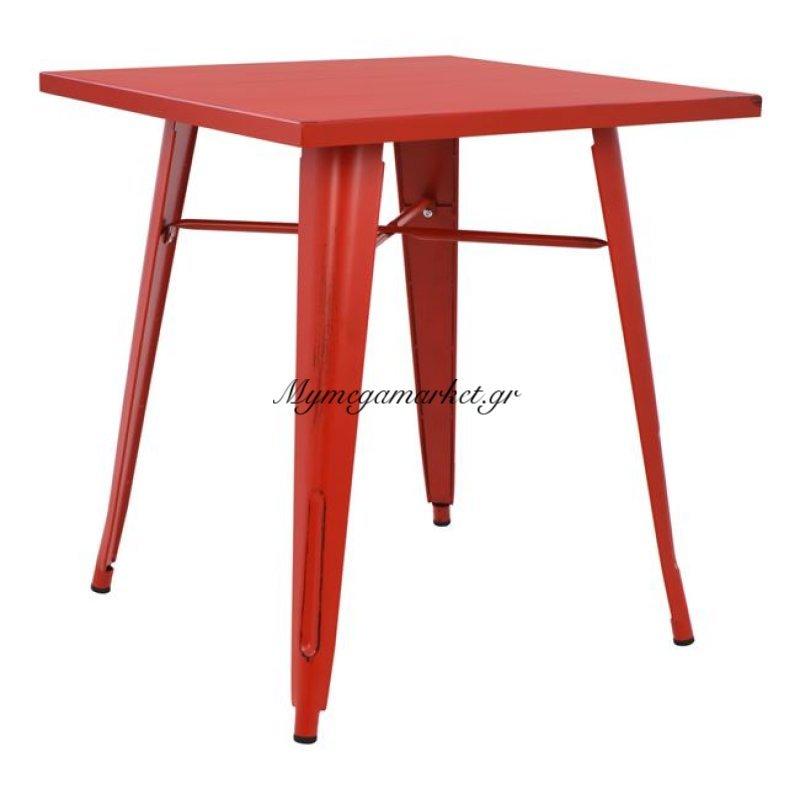 Τραπέζι Μεταλλικό Σε Χρώμα Κόκκινη Πατίνα Hm0607.77 70X70X76