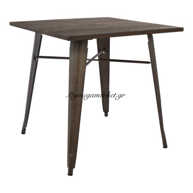 Τραπέζι Μεταλλικό Σε Χρώμα Rusty Και Ξύλο Hm0611.04 80X80X76