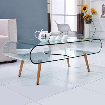 Τραπέζι Σαλονιού Hm8087 Γύαλινο Με Φυσικό Πόδι 120X60X45 | Mymegamarket.gr