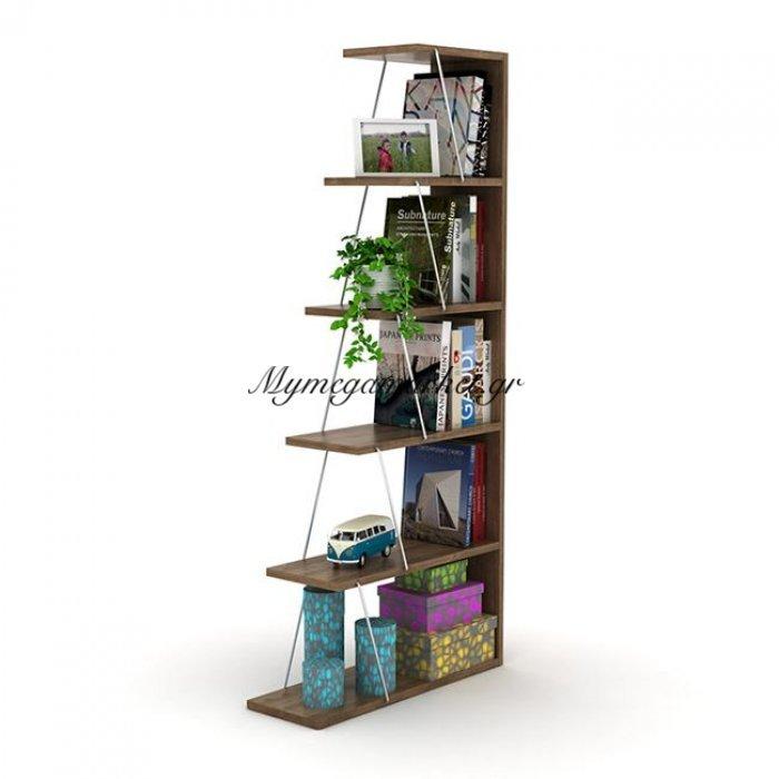 Βιβλιοθήκη Mini Tars Σε Χρώμα Καρυδι - Χρώμιο Hm2241.03 | Mymegamarket.gr