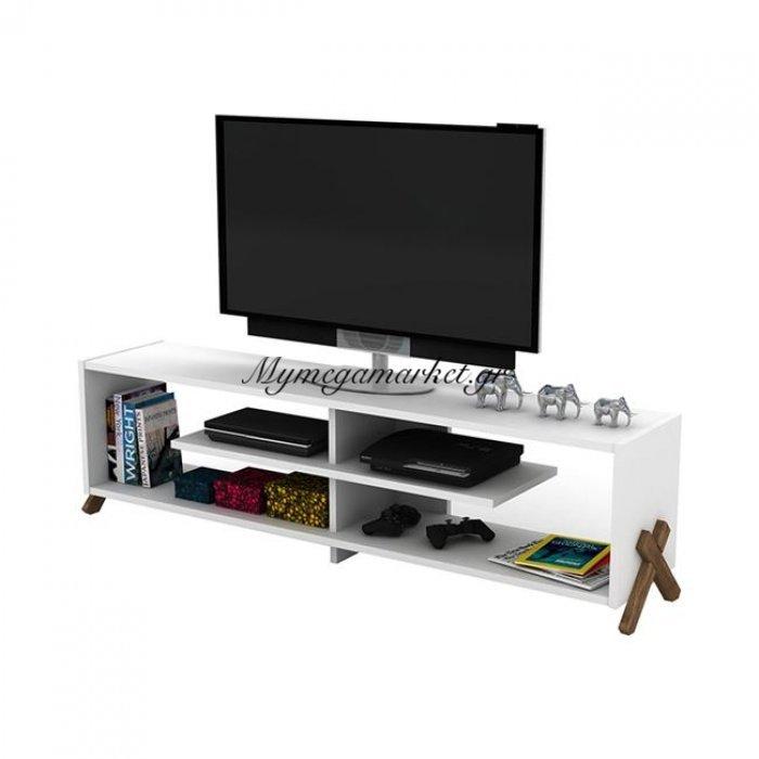 Έπιπλο Tηλεόρασης Kipp Σε Χρώμα Λευκό - Καρυδί Hm2243.07 | Mymegamarket.gr