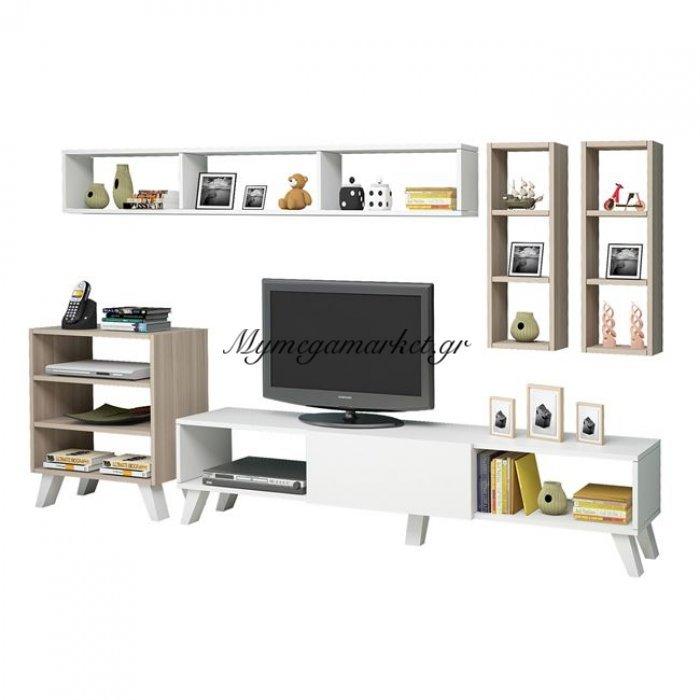 Έπιπλο Τηλεόρασης Lora Hm2258 Λευκό  -Sonama | Mymegamarket.gr