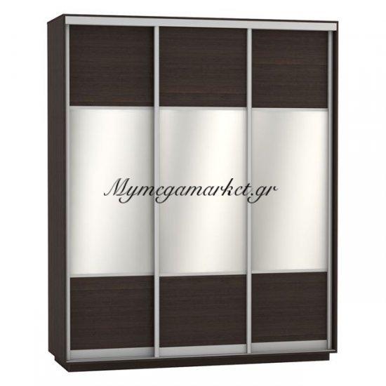 Ντουλάπα Συρόμενη 3Φυλλη Με Καθρέπτες Amelia Hm2306.02 Wenge 180X60X220Εκ. Στην κατηγορία Ντουλάπες ξύλινες | Mymegamarket.gr