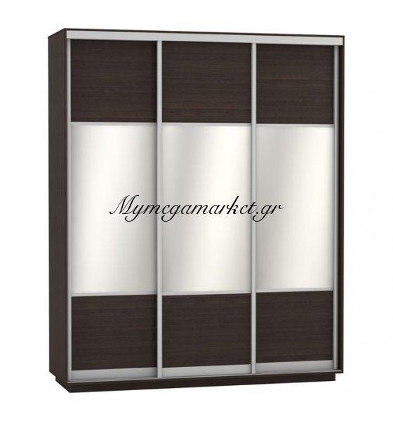 Ντουλάπα Συρόμενη 3Φυλλη Με Καθρέπτες Amelia Hm2306.02 Wenge 180X60X220Εκ. | Mymegamarket.gr