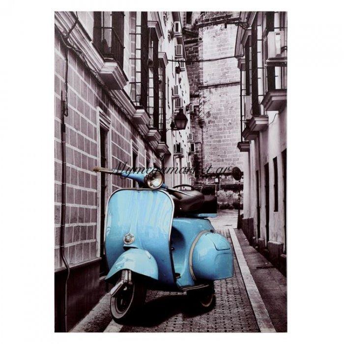 Πίνακας Καμβάς Hm7067 Blue Motocycle 50X70X2.5 | Mymegamarket.gr