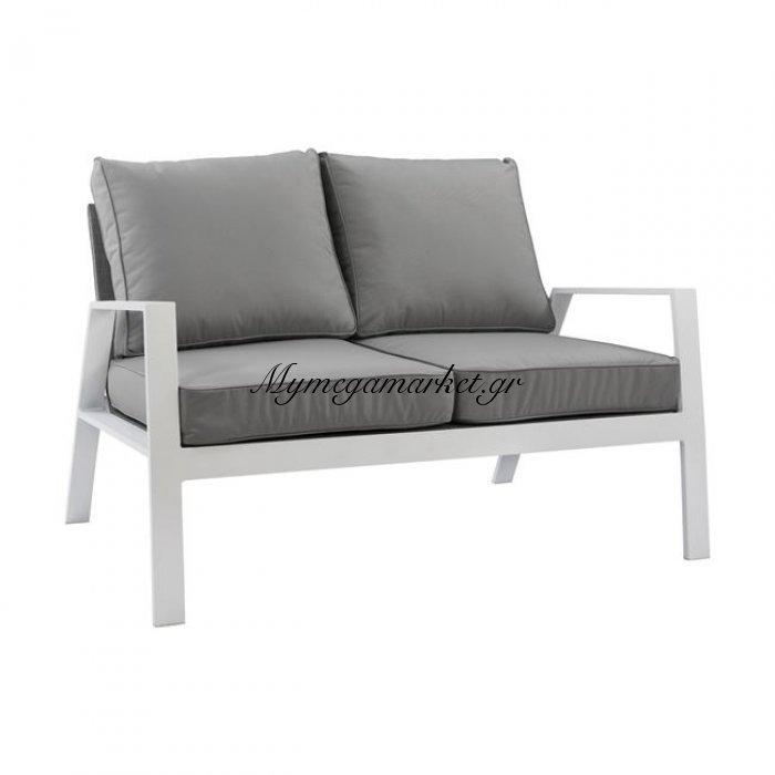 Καναπές Διθέσιος Αλουμινίου Hm5561.01 Λευκός Με Μαξιλάρια | Mymegamarket.gr
