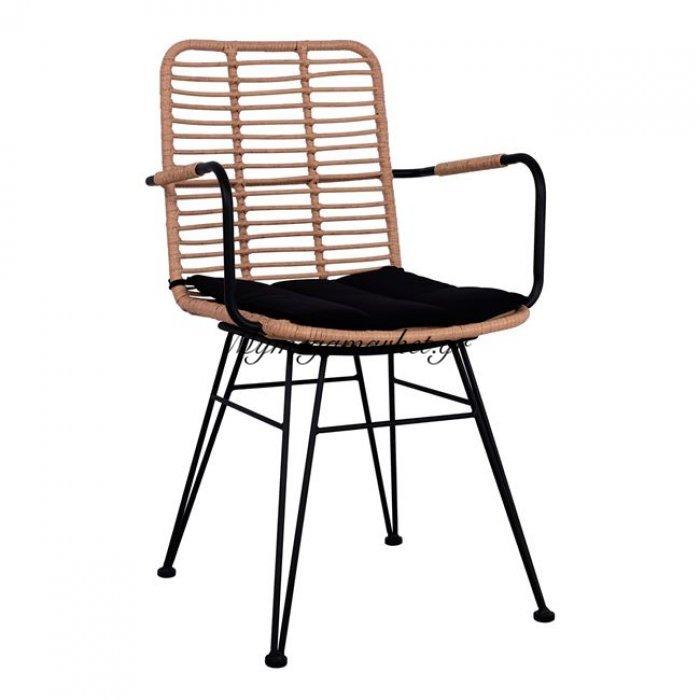Πολυθρόνα Μεταλλική Με Μαξιλάρι Hm5449 Με Wicker Σε Μπέζ Χρώμα | Mymegamarket.gr