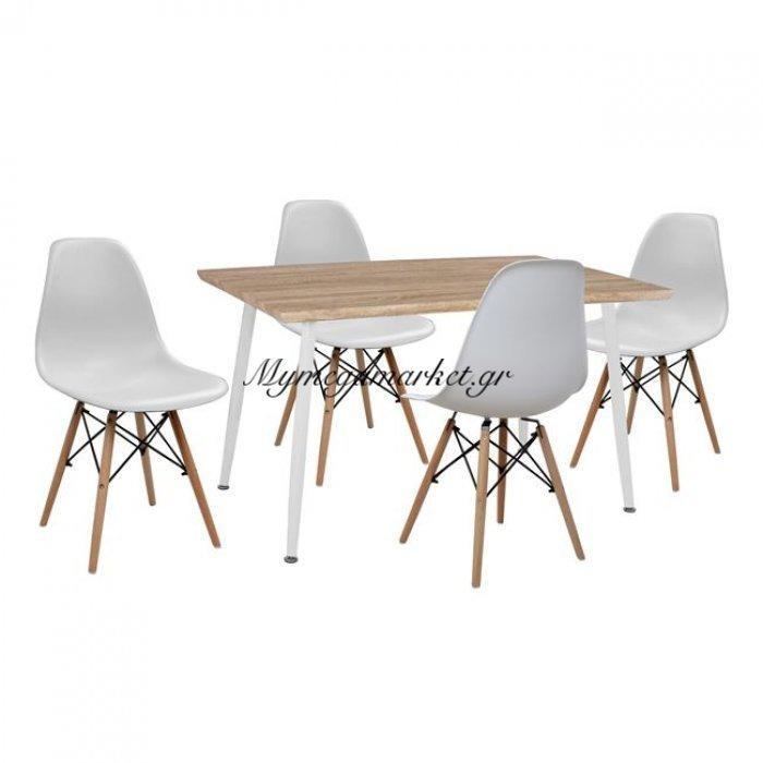 Σετ Τραπεζαρίας 5Τμχ Hm10349.02 Τραπέζι 120X70 & Καρέκλες Twist   Mymegamarket.gr
