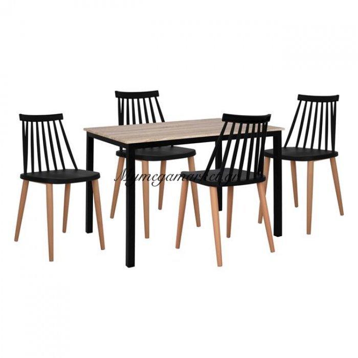 Σετ 5 Τμχ Τραπέζι Sonama Με Μαύρα Πόδια & Καρέκλες Vanessa Μαύρες Hm11002.02   Mymegamarket.gr
