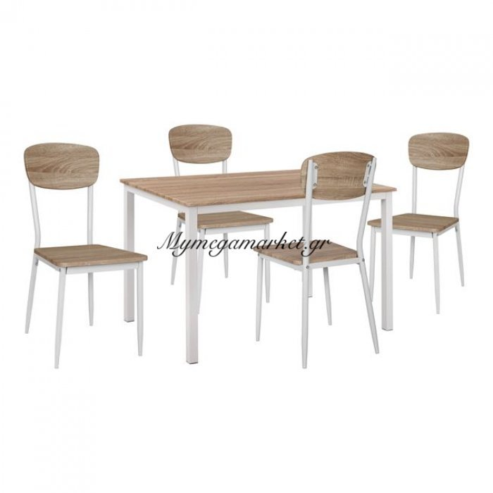 Σετ 5 Τμχ Τραπέζι Sonama Με Λευκά Πόδια & Καρέκλες Sonama Με Λευκά Πόδια Hm11011   Mymegamarket.gr