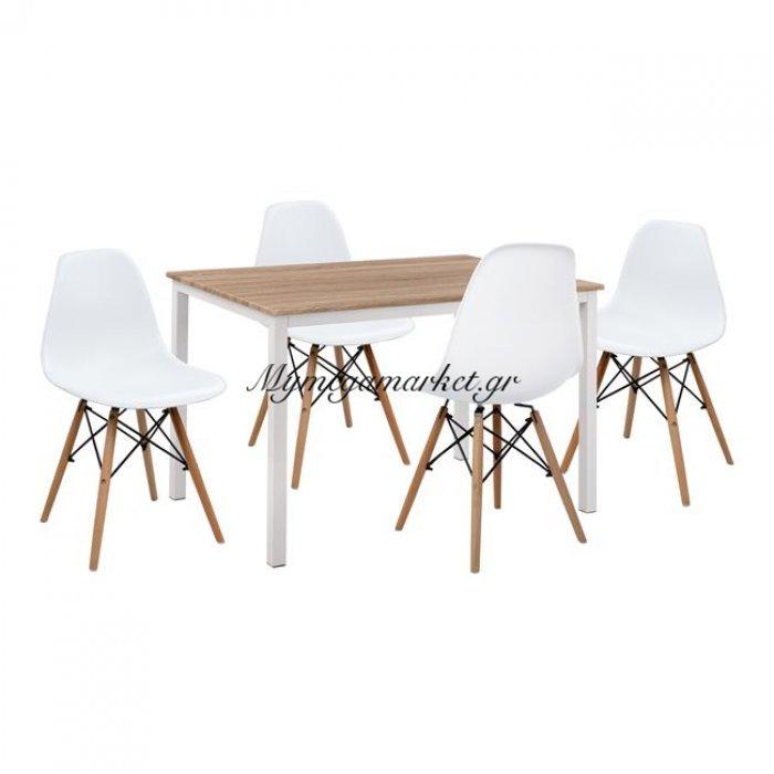 Σετ 5Τμχ Τραπέζι Sonama & Καρέκλες Pp Twist  Άσπρο Κάθισμα Hm11014   Mymegamarket.gr