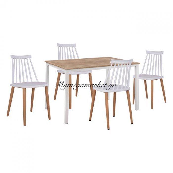Σετ 5Τμχ Τραπέζι Sonama & Καρέκλες Vanessa Λευκό Χρώμα Μεταλλικά Πόδια Hm11002.01   Mymegamarket.gr