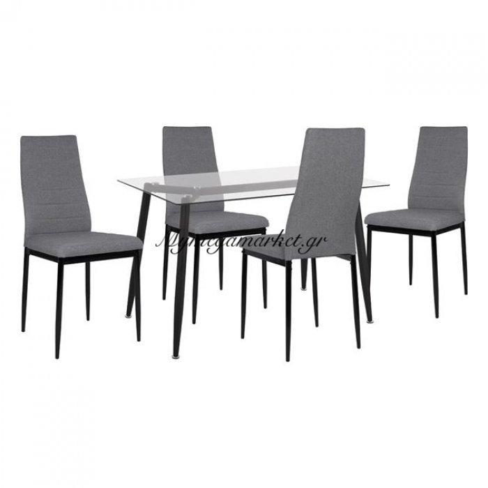 Σετ 5Τμχ Τραπέζι Μαύρο Με Γυαλί & Καρέκλες Lady Γκρι Χρώμα Hm11076   Mymegamarket.gr