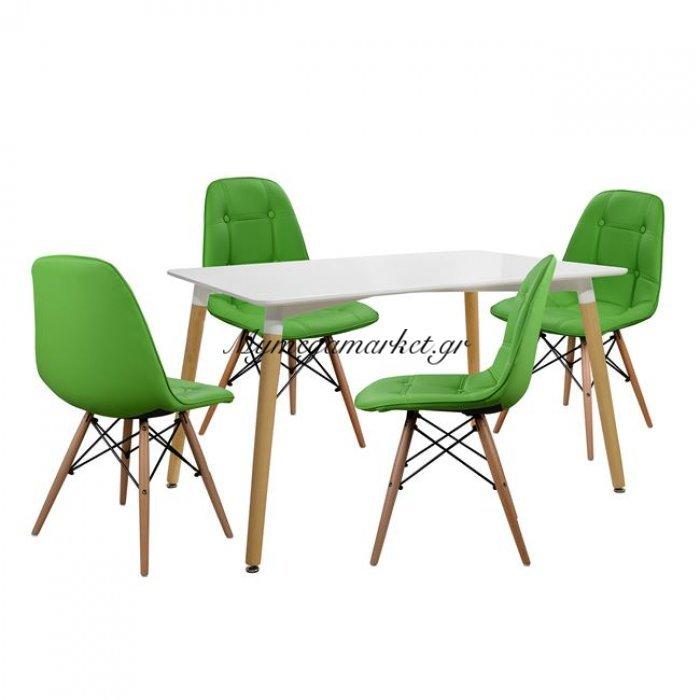 Σετ Τραπεζαρία 5Τ Τραπέζι Minimal 120Χ80-Nely Πράσινο Hm10078.11 | Mymegamarket.gr