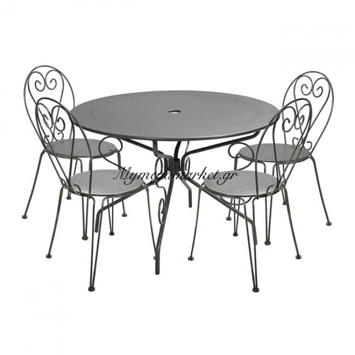 Σετ Τραπεζαρία 5Τμχ Τραπέζι & Καρέκλες Amore Άνθρακα Hm5205 | Mymegamarket.gr