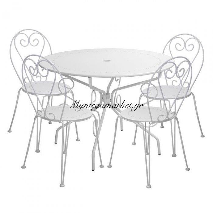 Σετ Τραπεζαρία 5Τ Hm10155 Τραπέζι Φ95-Καρεκλες Amore Λεύκες | Mymegamarket.gr