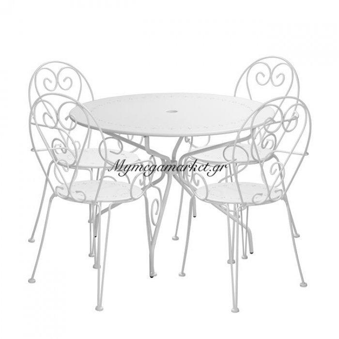Σετ Τραπεζαρία 5Τ Hm10154 Τραπέζι Φ95-Πολυθρόνες Amore Λευκές | Mymegamarket.gr