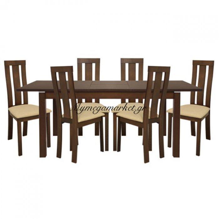 Σετ Τραπεζαρίας 7Τ Τραπέζι Ανοιγμένο & Καρέκλες Καρυδί Hm10090 | Mymegamarket.gr