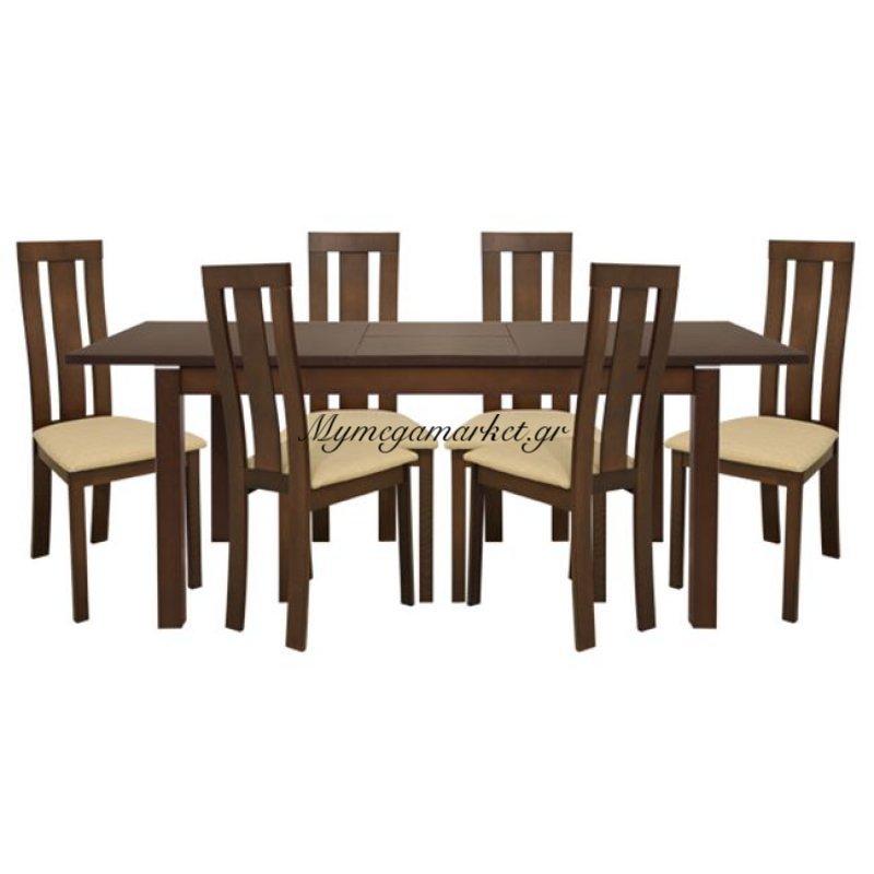 Σετ Τραπεζαρίας 7Τ Τραπέζι Ανοιγμένο & Καρέκλες Καρυδί Hm10090