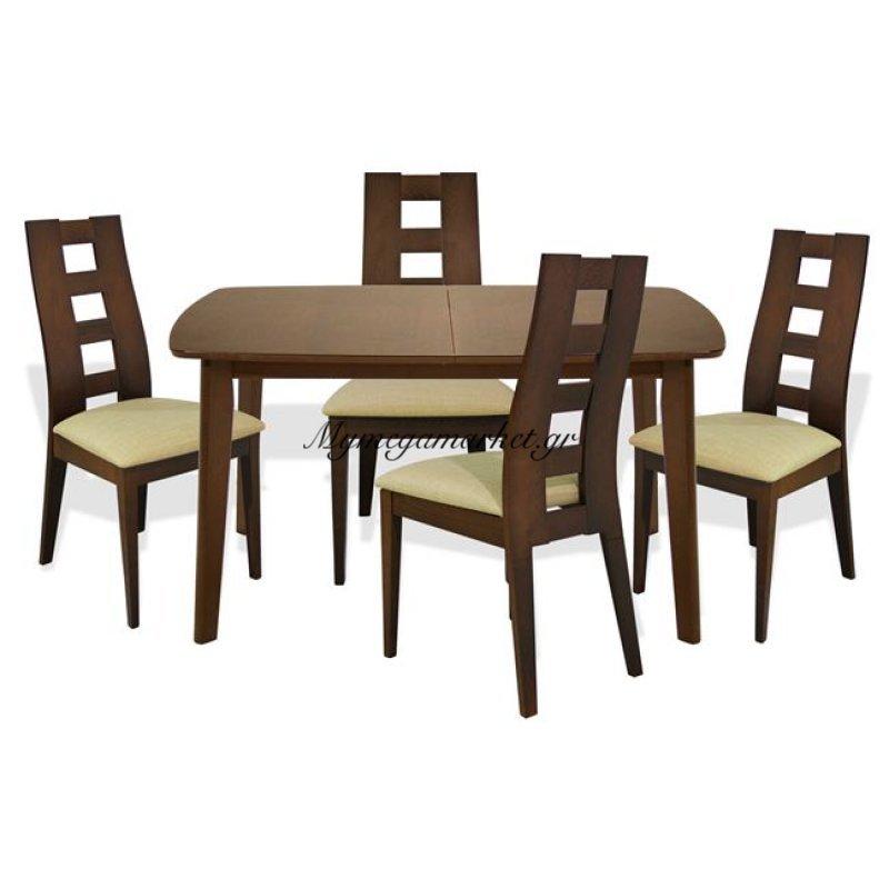 Σετ Τραπεζαρίας 5Τ Τραπέζι Ανοιγμένο & Καρέκλες Καρυδί Hm10091