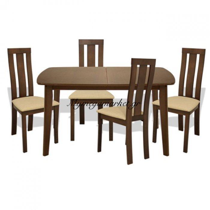 Σετ Τραπεζαρίας 5T Τραπέζι Ανοιγμένο & Καρέκλες Καρυδί Hm10092   Mymegamarket.gr