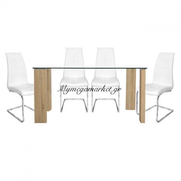 Σετ Τραπεζαρία 5Τμχ Τραπέζι Morgan 140X80& Julia Λευκές Hm10081 | Mymegamarket.gr