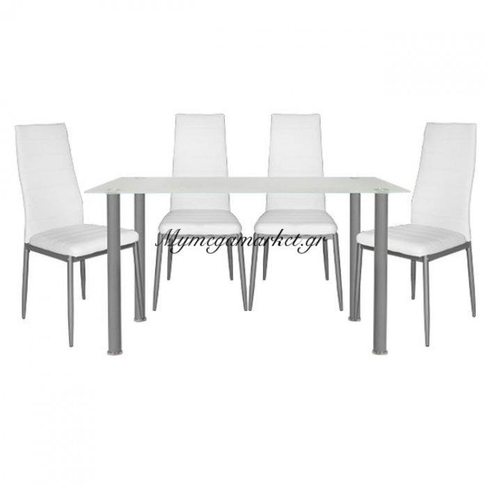 Σετ Τραπεζαρία 5Τμχ Τραπέζι Alan 120Χ70& Lady Λευκές Hm10061.01   Mymegamarket.gr