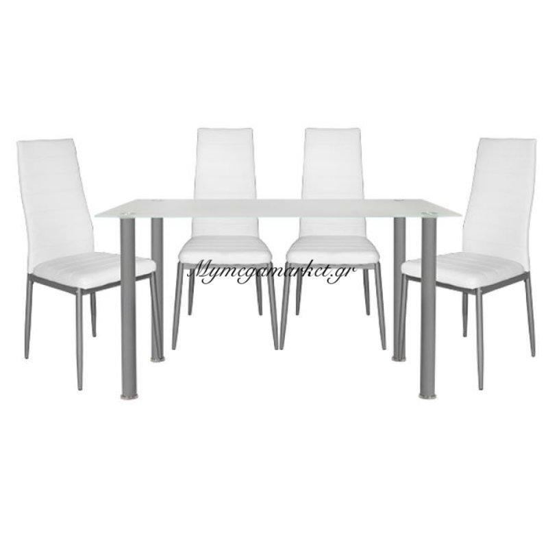 Σετ Τραπεζαρία 5Τμχ Τραπέζι Alan 120Χ70& Lady Λευκές Hm10061.01