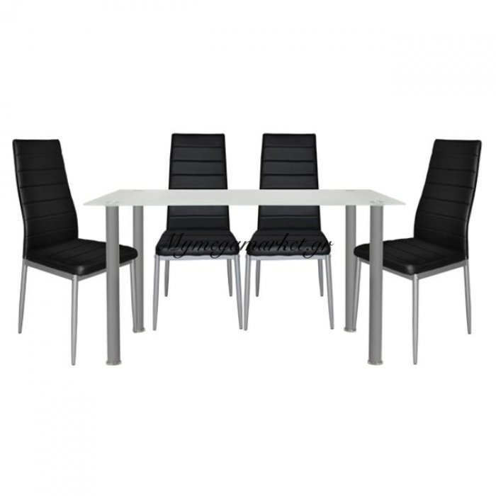 Σετ Τραπεζαρία 5Τμχ Τραπέζι Alan 120Χ70 & Lady Μαύρες Hm10061.02 | Mymegamarket.gr
